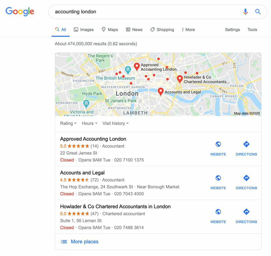 Google My Business optimisation for accountants