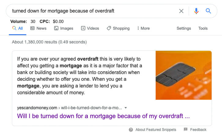 mortgage broker featured snippet